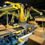 robot case packer palletizer line